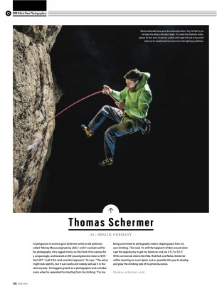 Thomas got selected in the category Best New Photographers 2014 by Climbing Magazine!